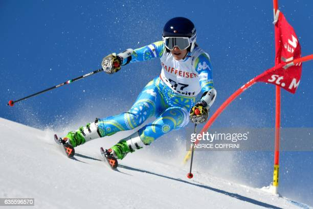 Argentina's Macarena Simari Birkner competes in the women's giant slalom race at the 2017 FIS Alpine World Ski Championships in St Moritz on February...