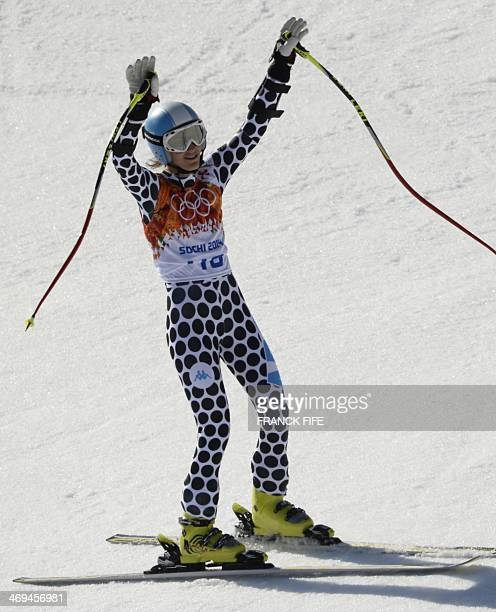 Argentina's Macarena Simari Birkner reacts after the Women's Alpine Skiing SuperG at the Rosa Khutor Alpine Center during the Sochi Winter Olympics...