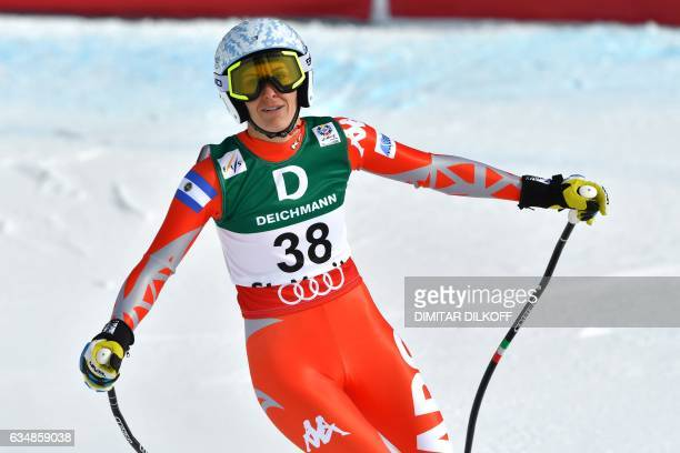 Argentina's Macarena Simari Birkner reacts in the finish area of the women's downhill race at the 2017 FIS Alpine World Ski Championships in St...