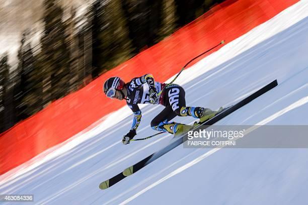 Argentina's Macarena Simari Birkner speeds down during the 2015 World Alpine Ski Championships women's combined downhill on February 9 2015 in Beaver...