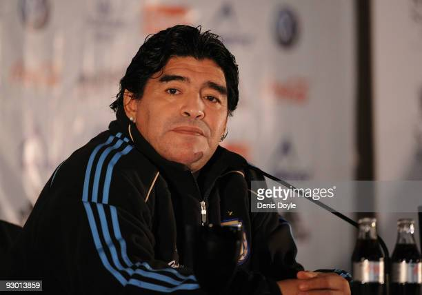 Argentina's manager Diego Maradona attends a press conference at a hotel on November 12 2009 in Madrid Spain Argentina play Spain in an international...