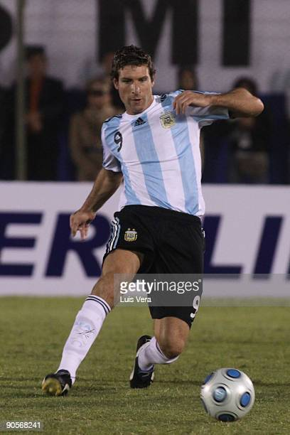 Argentina's Martin Palermo conducts the ball against Paraguay during their 2010 FIFA World Cup qualifier at the Defensores del Chaco Stadium on...