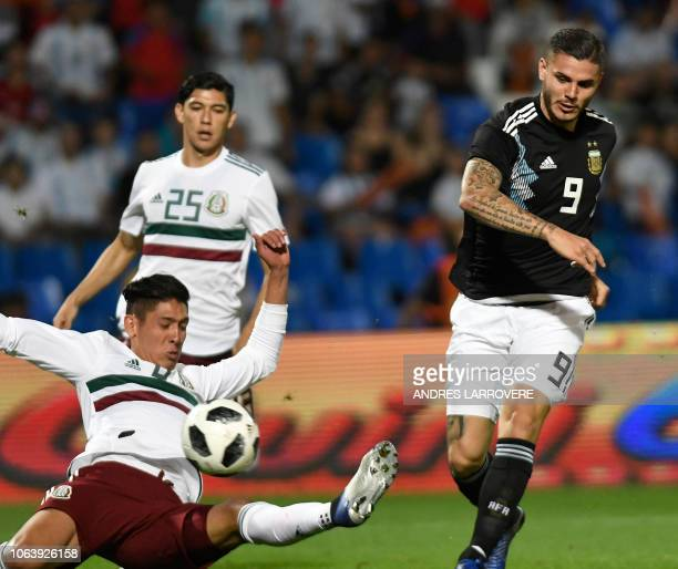 Argentina's Mauro Icardi strikes the ball to score against Mexico during their friendly football match at the Malvinas Argentinas stadium in Mendoza...