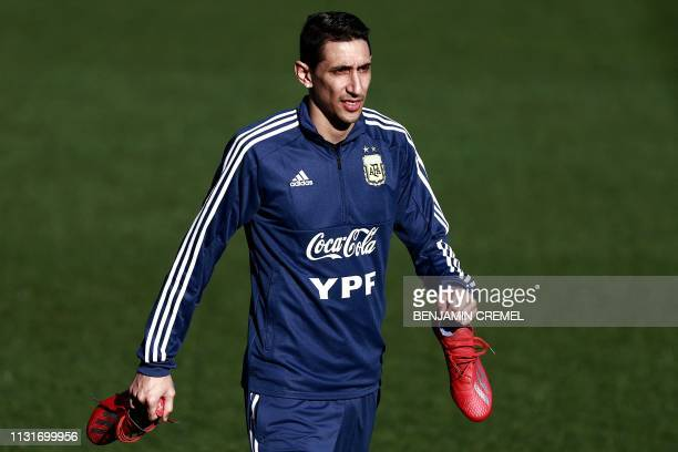 Argentina's midfielder Angel Di Maria attends a training session at Real Madrid's training facilities of Valdebebas in Madrid on March 20 ahead of an...