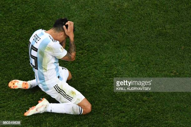 TOPSHOT Argentina's midfielder Enzo Perez reacts during the Russia 2018 World Cup Group D football match between Argentina and Croatia at the Nizhny...