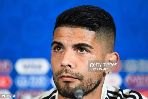 Argentina's midfielder Ever Banega attends a press conference at the Kazan Arena in Kazan on June 29 on the eve of the Russia 2018 World Cup round of...