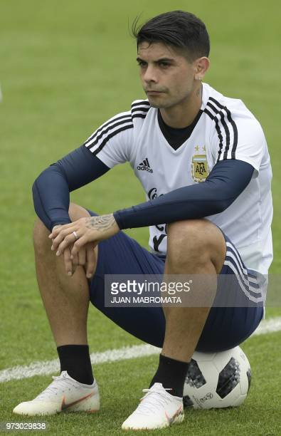 Argentina's midfielder Ever Banega is pictured during a training session at the team's base camp in Bronnitsy on June 13 2018 ahead of the Russia...