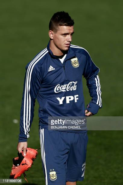 Argentina's midfielder Giovani Lo Celso arrives for a training session at Real Madrid's training facilities of Valdebebas in Madrid on March 20 ahead...