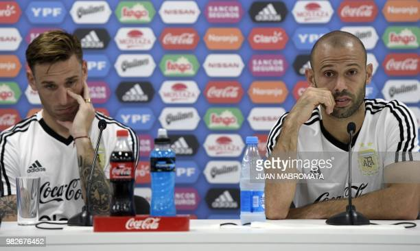 Argentina's midfielder Javier Mascherano and midfielder Lucas Biglia hold a press conference at the team's base camp in Bronnitsy near Moscow on June...