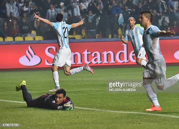 Argentina's midfielder Javier Pastore celebrates after scoring against Paraguay during their Copa America semifinal football match in Concepcion,...