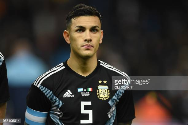 Argentina's midfielder Leandro Paredes lines up ahead of the International friendly football match between Argentina and Italy at the Etihad stadium...