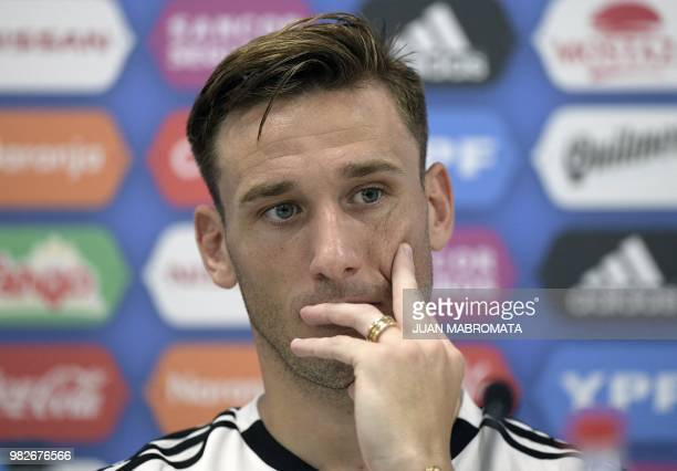 Argentina's midfielder Lucas Biglia holds a press conference at the team's base camp in Bronnitsy near Moscow on June 24 during the Russia 2018 World...
