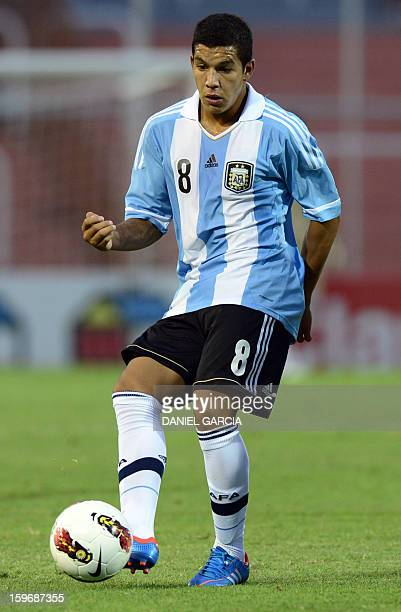 Argentina's midfielder Lucas Romero in action during their Group A South American U20 qualifier football match against Colombia at Malvinas...