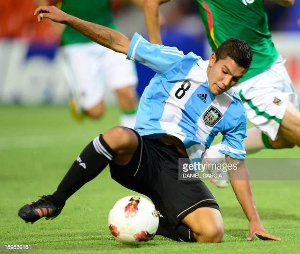 Argentina's midfielder Lucas Romero takes the ball during their football match against Bolivia at Malvinas Argentinas stadium in Mendoza Argentina on...