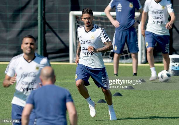 Argentina's midfielder Manuel Lanzini attends a training session at the FC Barcelona 'Joan Gamper' sports center in Sant Joan Despi near Barcelona on...