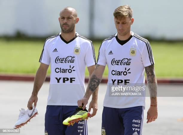 Argentina's midfielders Javier Mascherano and Lucas Biglia attend a training session at the team's base camp in Bronnitsy near Moscow Russia on June...