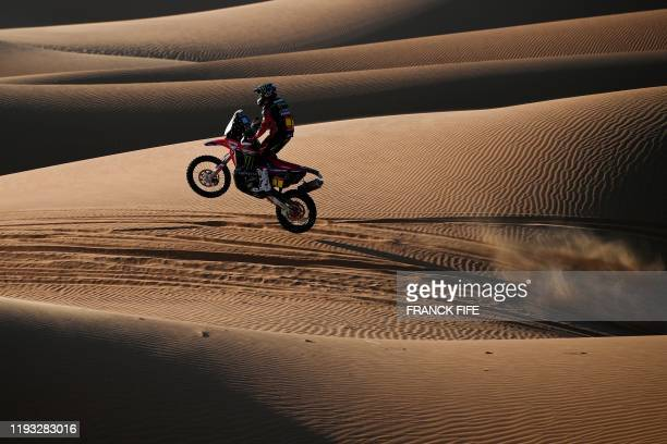 TOPSHOT Argentina's motorbike rider Kevin Benavides drives his Honda as he competes in the Stage 7 of the Dakar 2020 between Riyadh and Wadi Al...