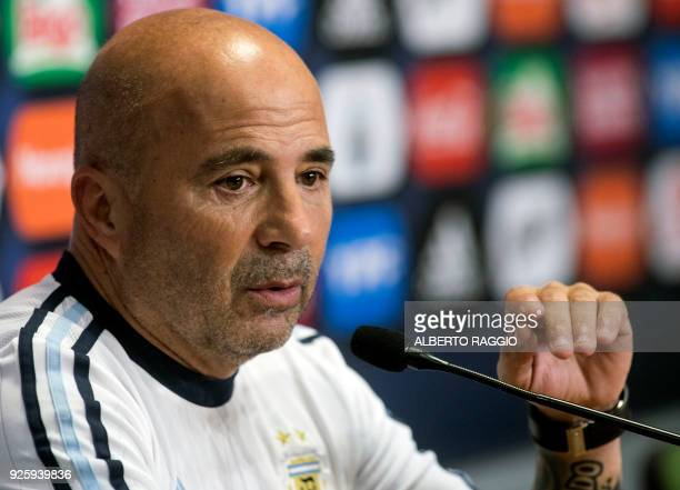 Argentina's national footbal team coach Jorge Sampaoli speaks during a press conference to announce the last but one list of players called to take...