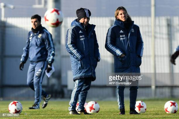 Argentina's national football team coach Jorge Sampaoli leads a training session in Moscow on November 9 2017 The team will face Russia and Nigeria...