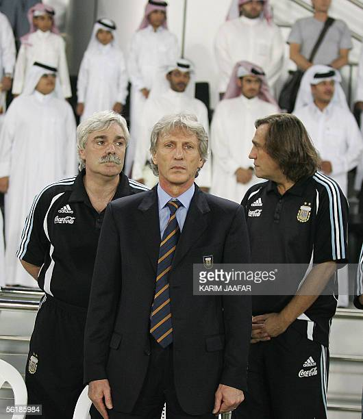Argentina's national football team coach Jose Pekerman poses 16 November 2005 at the AlSadd stadium in Doha during his team's friendly match against...