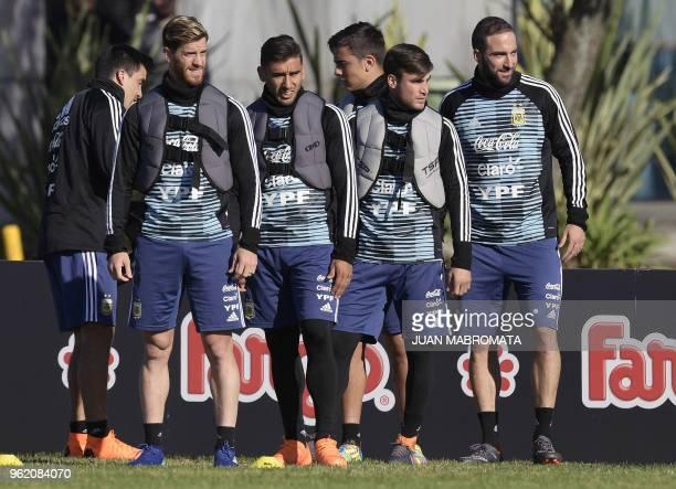 Argentina's national football team defender Marcos Acuna defender Cristian Ansaldi midfielder Eduardo Salvio forward Paulo Dybala defender Nicolas...