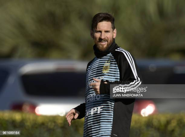 Argentina's national football team forward Lionel Messi gestures during a training session in Ezeiza Buenos Aires on May 23 2018 The Argentinian team...
