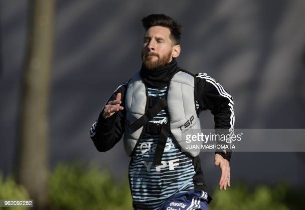 Argentina's national football team forward Lionel Messi takes part in a training session in Ezeiza Buenos Aires on May 24 2018 The Argentinian team...