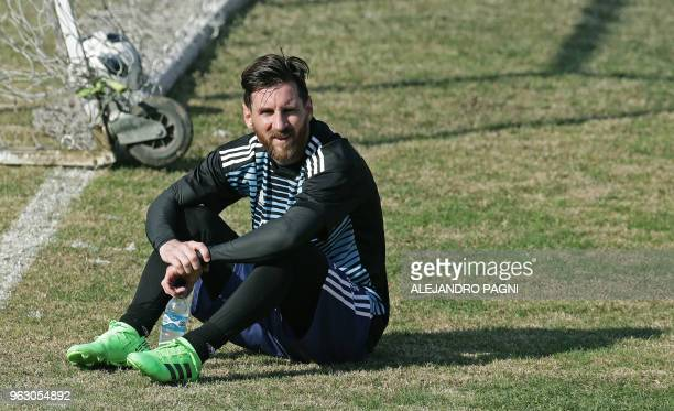 Argentina's national football team forward Lionel Messi takes part in a training session at the Tomas Duco stadium in Buenos Aires on May 27 2018...