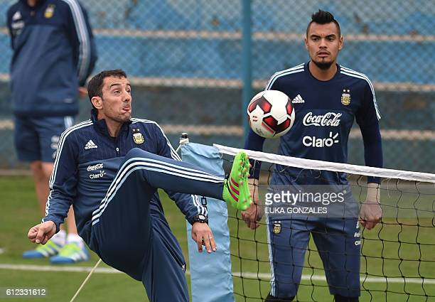 Argentina's national football team goalkeeper Sergio Romero takes part in a training session in Lima on October 03 2016 Argentina will face Peru in a...