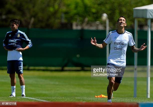 Argentina's national football team midfielder Angel Di Maria gestures during a training session in Ezeiza Buenos Aires on October 9 2016 ahead of a...
