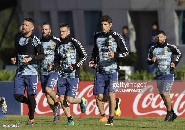 Argentina's national football team players defender Nicolas Otamendi forward Gonzalo Higuain midfielder Giovani Lo Celso defender Federico Fazio and...