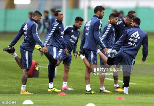 Argentina's national footballers take part in a training session in Ezeiza Buenos Aires on September 3 2017 ahead of a 2018 FIFA World Cup Russia...