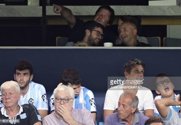 Argentina's National team coach Jorge Sampaoli attends the Copa Libertadores 2018 Group E first leg football match between Argentina's Racing Club...
