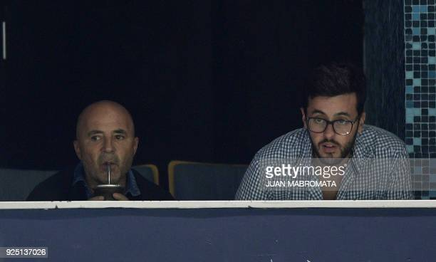 Argentina's National team coach Jorge Sampaoli drinks mate traditional South American infusion during the Copa Libertadores 2018 Group E first leg...