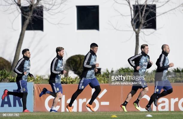 Argentina's national team footballers midfielder Eduardo Salvio defender Cristian Ansaldi defender Marcos Rojo midfielder Javier Mascherano and...