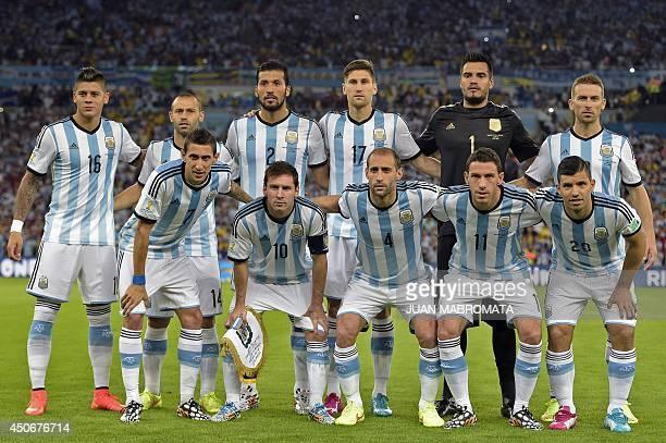 Argentina's national team players defender Marcos Rojo midfielder Javier Mascherano defender Ezequiel Garay defender Federico Fernandez goalkeeper...