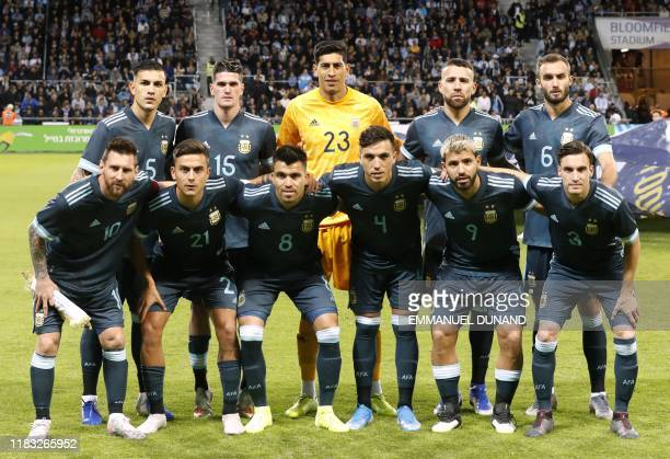 Argentina's national team pose for a family picture during the friendly football match between Argentina and Uruguay at the Bloomfield stadium in the...