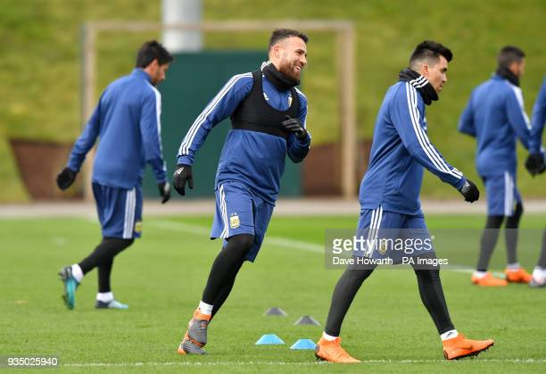 Argentina's Nicolas Otamendi during a training session at the City Football Academy Manchester