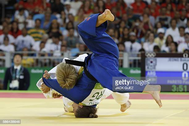 TOPSHOT Argentina's Paula Pareto competes with South Korea's Jeong Bokyeong during their women's 48kg judo contest gold medal match of the Rio 2016...