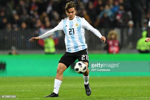 Argentina's Paulo Dybala controls the ball during an international friendly football match between Russia and Argentina at the Luzhniki stadium in...