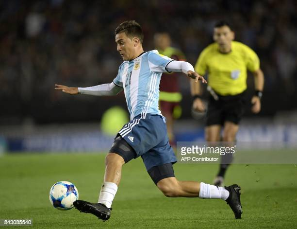Argentina's Paulo Dybala controls the ball during their 2018 World Cup qualifier football match against Venezuela in Buenos Aires on September 5 2017...