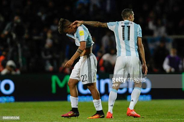Argentina's Paulo Dybala leaves the field after receiving a red card during the FIFA World Cup 2018 qualifier football match between Argentina and...