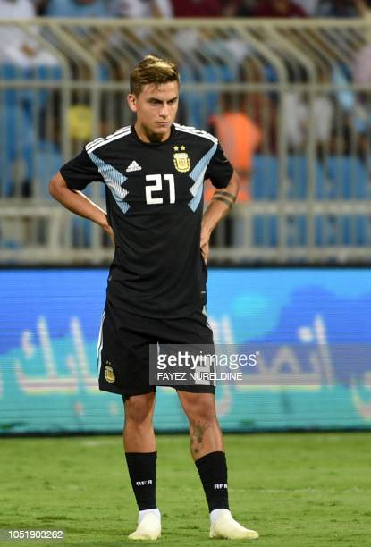 Argentina's Paulo Dybala looks on during a friendly football match between Argentina and Iraq at the Faisal bin Fahd Stadium in Riyadh on October 11...