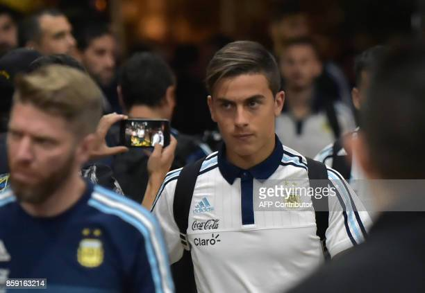 Argentina's Paulo Dybala walks upon arrival at a hotel in Guayaquil Ecuador on October 8 ahead of their FIFA World Cup 2018 qualifier football match...