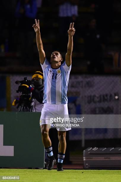 Argentina`s player Brian Ezequiel Mansilla celebrates a goal against Brazil during their U-20 South American Championship football match in the...