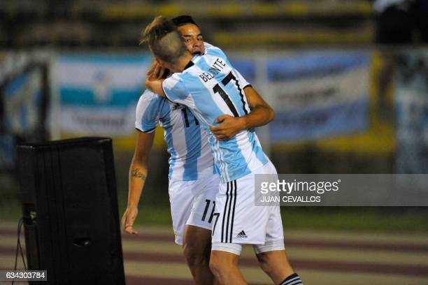 Argentina`s player Brian Ezequiel Mansilla celebrates with Tomas Belmonte a goal against Brazil during their U-20 South American Championship...