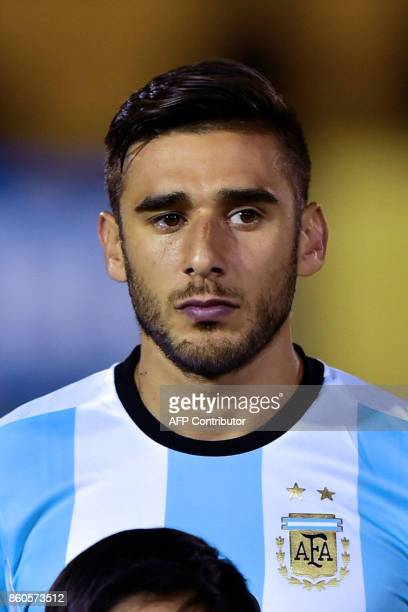 Argentina's player Eduardo Salvio poses for pictures before the start of their 2018 World Cup qualifier football match against Ecuador in Quito on...