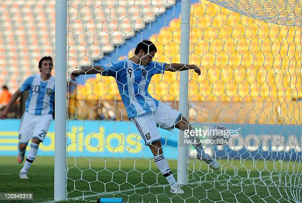 Argentina's player Facundo Ferreyra celebrates after scoring against North Korea during their FIFA U20 World Cup football tournament match held at...