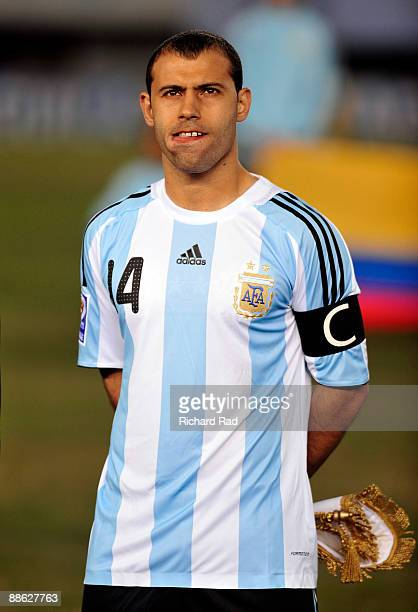 Argentina's player Javier Mascherano before the match against Colombia valid for the 2010 FIFA World Cup qualifier at the River Plate Stadium on June...