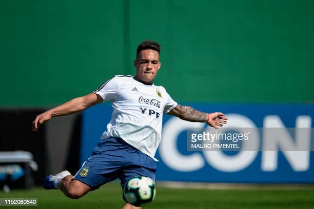 Argentina's player Lautaro Martinez trains during a practice session in Rio de Janeiro Brazil on June 26 ahead of the Copa America quarter final...